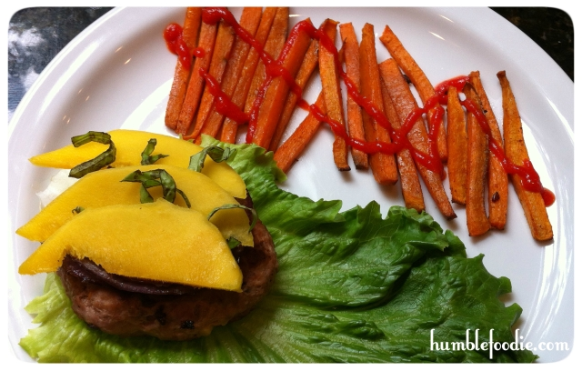 mango turkey burger with sweet potato fries