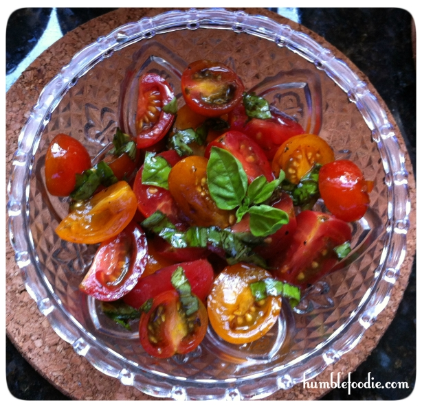 mini heirloom tomato salad with basil