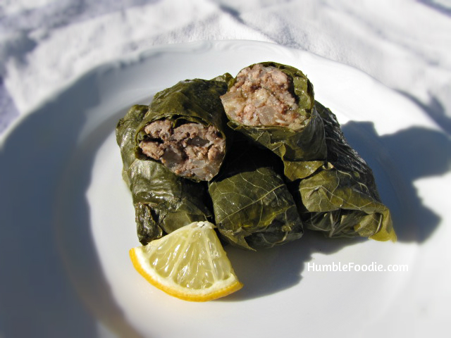 Paleo dolmas stuffed grape leaves with lemon